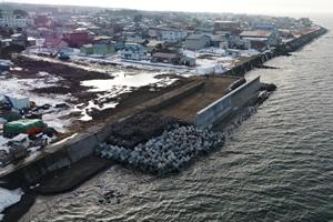 度杭崎海岸高潮対策工事 完成