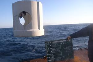 北海道津軽海峡地区函館銭亀魚礁設置工事(25補正) ブロック沈設状況