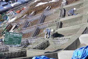 一般国道 229号 乙部町 豊浜災害防除外一連工事 豊浜工区 吹付法枠施工状況