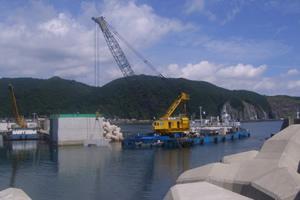 日浦漁港地域水産基盤整備工事(補正)外(繰越) 本工事01 本体ブロック据付状況