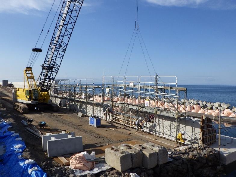 度杭崎海岸高潮対策工事(補正明許) 組立足場設置