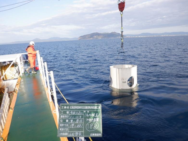 北海道津軽海峡地区函館銭亀魚礁設置工事 ブロック沈設