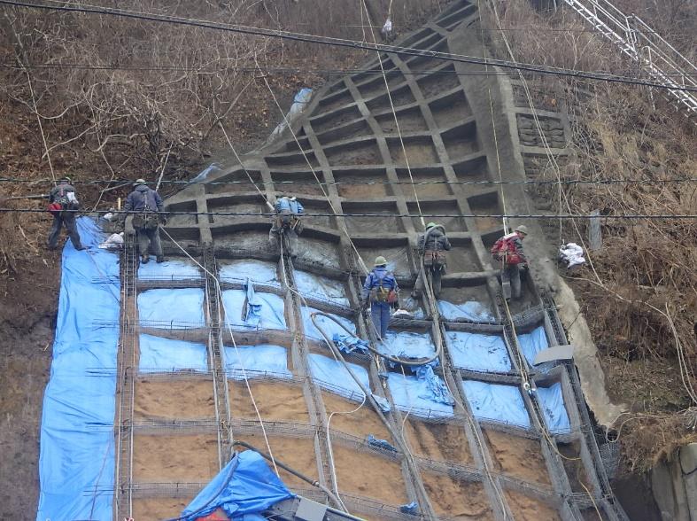 山背泊漁港地先 緊急予防治山工事 法枠施工